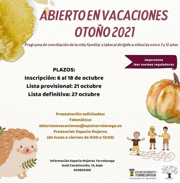 El 6 de octubre se abre el plazo de inscripción en 'Abierto en Vacaciones: Otoño 2021'