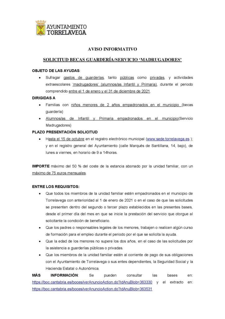 El 15 de octubre finaliza el plazo para solicitar las becas de guardería del Ayuntamiento de Torrelavega